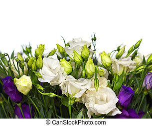 bouquet of lisianthus flowers on  white