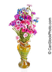 Bouquet of many beautiful multi-colored cornflowers flowers