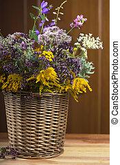 Bouquet of medicinal herbs in basket