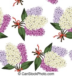 Bouquet of multicolored three branches of lilac seamless pattern
