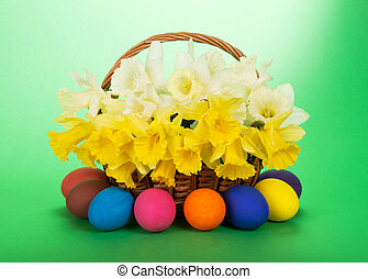 Bouquet of narcissuses and Easter eggs
