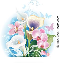 Bouquet of Orchid and Calla flowers