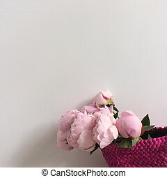 Bouquet of peonies in a bag - Bouquet of pink peonies in a ...