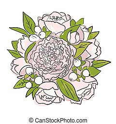 Bouquet of peonies, sketch for your design