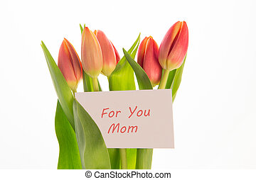 Bouquet of pink and yellow tulips with mothers day greeting card on white background