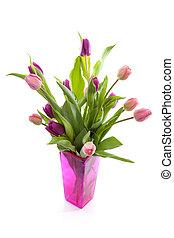Bouquet of pink Dutch tulips in vase
