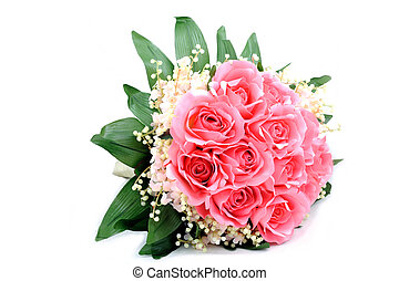 Bouquet of pink fabric roses isolated.