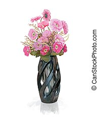 Bouquet of pink flower in vase with reflect shadow