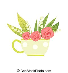 Bouquet of Pink Flowers and Lilies of the Valley in Cup, Hello Spring Floral Design Template Vector Illustration