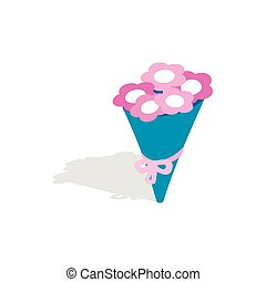 Bouquet of pink flowers icon, isometric 3d style