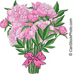 Bouquet of pink peony flowers tied with ribbon