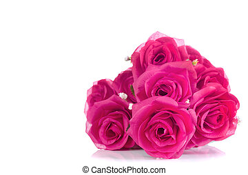 bouquet of pink plastic roses ,with blank space for add text