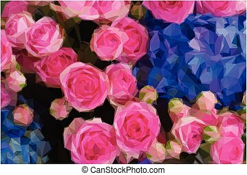 bouquet of pink roses and blue hortensia