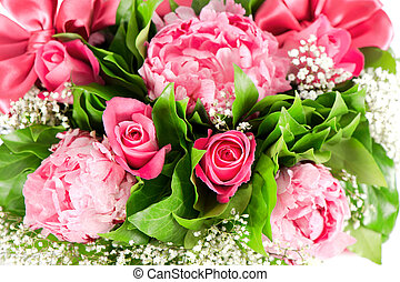 bouquet of pink roses and  peony flowers
