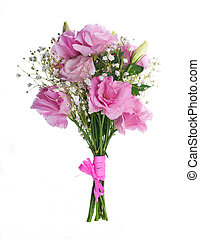 Bouquet of pink roses, floral background