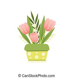 Bouquet of Pink Tulips and Lilies of the Valley in Flower Pot, Hello Spring Floral Design Template Vector Illustration