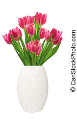 Bouquet of pink tulips in vase isolated on white background