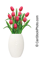 Bouquet of pink tulips in white vase isolated on white background