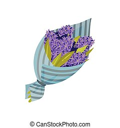 Bouquet of purple hyacinths. Vector illustration on white background.