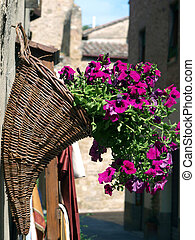 Bouquet of purple petunias in a horn shaped basket on a wall...