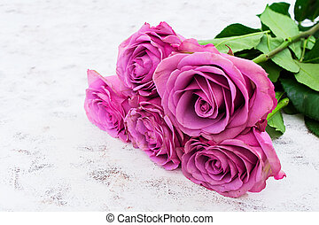 Bouquet Of Purple Roses On A White Background