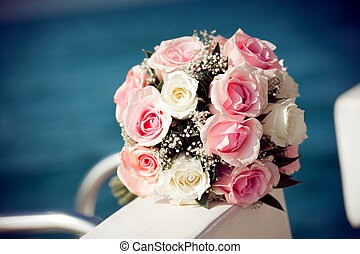 Bouquet of red and white roses flowers
