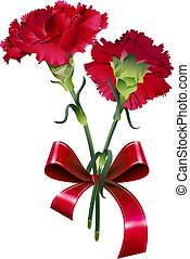 Bouquet of red carnation flower isolated on white