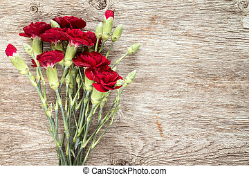 Bouquet of red carnations.