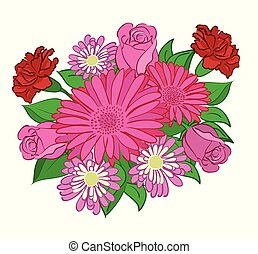 bouquet of red flowers - vector illustration