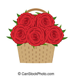 bouquet of red roses in a basket