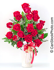 Bouquet of red roses in a vase