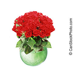 bouquet of red roses in glass vase isolated on white background