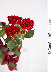 Bouquet of red roses in vase on white background