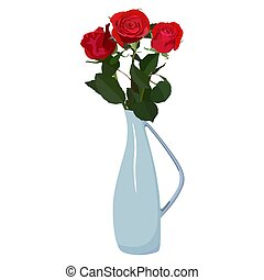 Bouquet of red roses in vase vector flat isolated...