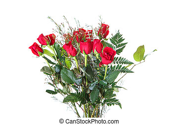Bouquet of Red Roses on White Background