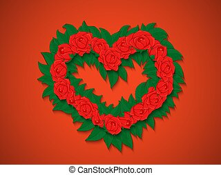 Bouquet of red roses with green leaves in the shape of a heart