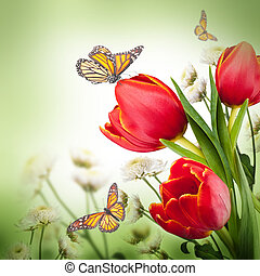 Bouquet of red tulips against a dark background and butterfly