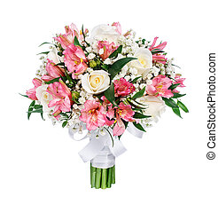 Bouquet of roses, alstromeries and gypsophilas