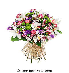 Bouquet of roses, alstromeries and lillies