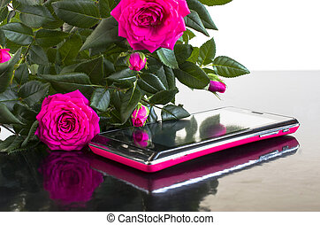 bouquet of roses and a smartphone