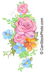 Bouquet of roses and forget-me-nots