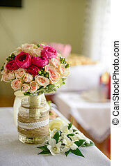 Bouquet of roses arranged in a vase