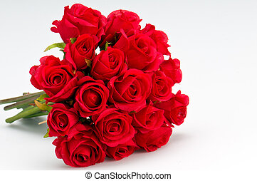 Bouquet of roses - Bouquet of artificial red roses, isolated...