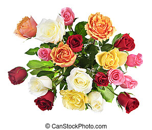 Bouquet of roses from above - Bouquet of assorted ...