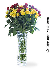 bouquet of roses in a crystal vase