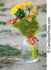 bouquet of roses in a jar
