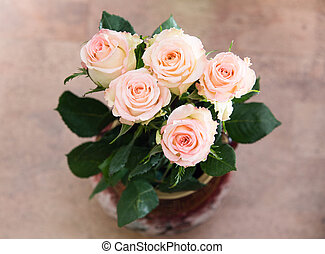 Bouquet of roses in a vase