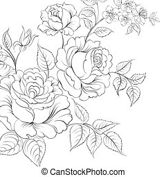 Bouquet of roses iolated on white background.