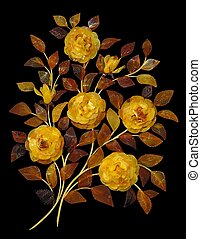 Bouquet of roses made of amber