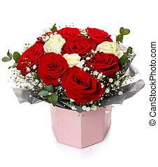 Bouquet of roses of two colors isolated on white background.